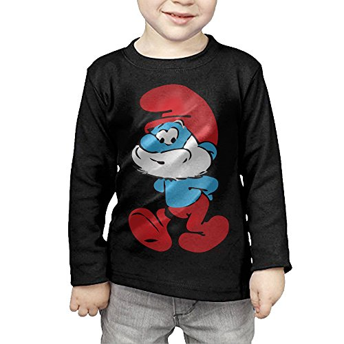 Girls The Smurfs Wizards Tee Tops Cotton Winter Long Black (Girl Smurf)