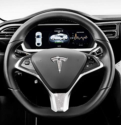 (Be A Blinger Unique Tesla Auto Accessory Steering Wheel Crystal Badge Bling T Logo Decal Handmade Rhinestone Emblem Decoration Cover Car Sticker Trim Gift Box for Tesla Model S (Whole Set