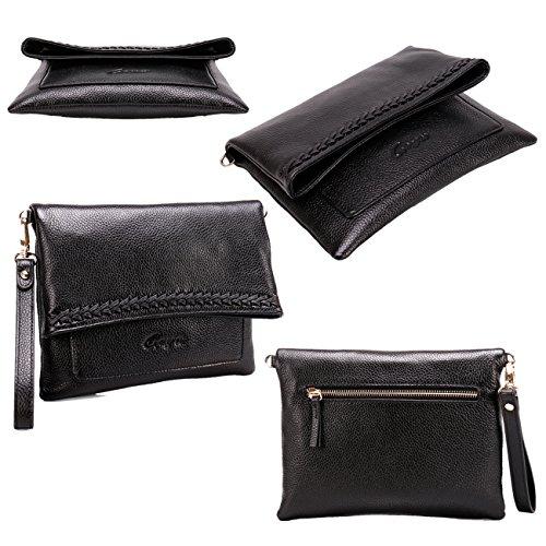 Shoulder Geya Clutch with Purse Purses Wrislet Women Strap for Women Leather new amp; Bags Crossbody Black Shoulder rwRrqC