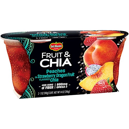 Del Monte Fruit & Chia Snack Cups, Peaches in Strawberry Dragon Fruit Flavored Chia, 7-Ounce Cups, 6-Pack of 2-Count Boxes (12 Cups Total)