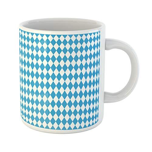 Semtomn Funny Coffee Mug Colorful White Oktoberfest Blue Pattern Bavarian Flag Munich Diamond 11 Oz Ceramic Coffee Mugs Tea Cup Best Gift Or Souvenir