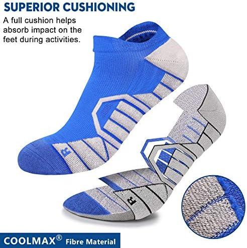 HYLAEA ATHLETIC RUNNING SOCKS FOR WOMEN MEN CUSHIONED WICKING COMPRESSION NO SHOW SOCKS