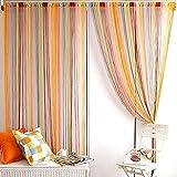 Rideau fil Multicolore Rideau de fenêtre Porte Tassel diviseur Valance Écharpe 200cm x 100 cm
