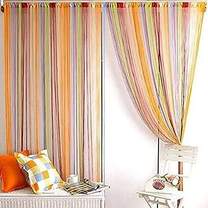Rideau fil Multicolore Rideau de fenêtre Porte Tassel diviseur ...