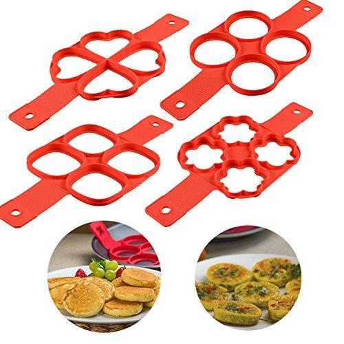 Silicone Pancake Mold Pancake Maker Pancake Flipping Fantastic Pancake (4 Qty.) by Keklle