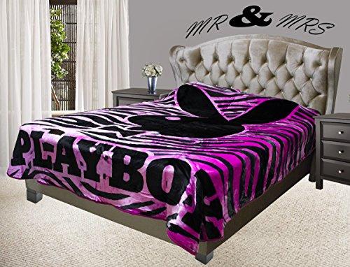 Playboy Classic Black Bunny Head with Tuxedo Covertures Blanket, Full/Queen, Zebra Design Pink/Black