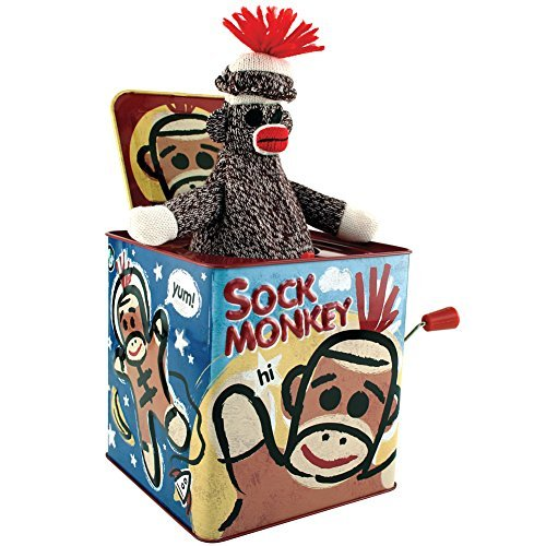 Schylling Associates, Inc. Sock Monkey Jack in The Box Retro Homespun Game Toy with Vintage Graphics