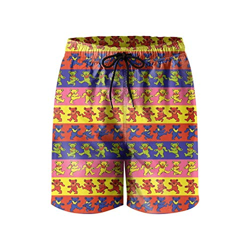 Wudo Men's Dancing-Bears-Grateful-Dead-Wallpaper- Swimming Trunks Quick Dry Beach Shorts