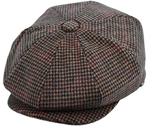 - Men's Wool Newsboy Cap, Herringbone Driving Cabbie Tweed Applejack Golf Hat (2745-Brown Plaid, Medium)