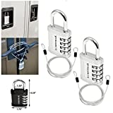 Lumintrail Combination Padlock w/ 4' Braided Steel Security Cable - 4 digit lock 1'' shackle (assorted colors 1-2 pack) (2-Locks, Silver)