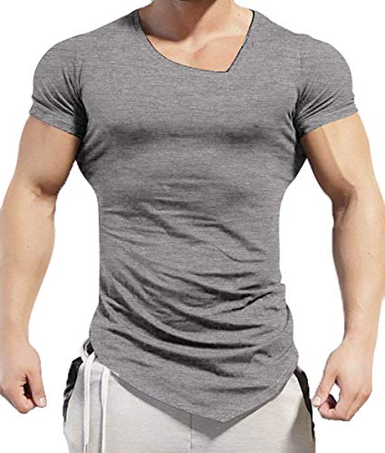Coofandy Men's Bodybuilding Muscle Training Short Sleeve gym Workout Fitness T shirt, Grey, Large