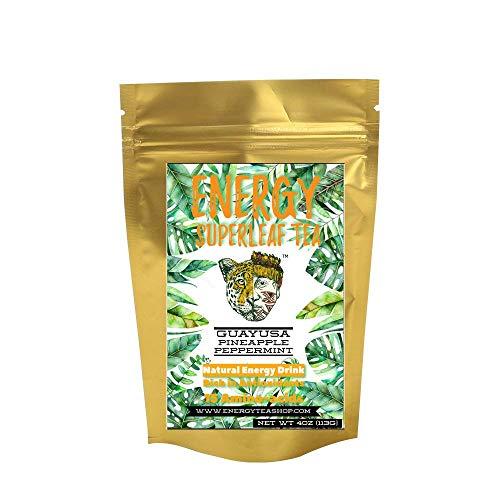 Superleaf Energy Tea - Natural High Caffeine - Super Healthy Coffee Substitute, Cacao & Cinnamon Flavor, Loose Leaf (4OZ)