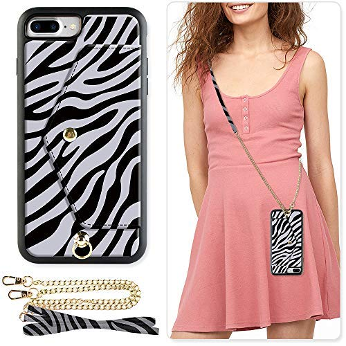 ZVE Wallet Case for Apple iPhone 8 Plus and iPhone 7 Plus, 5.5 inch, Crossbody Chain Case with Credit Card Holder Slot Handbag Purse Case for Apple iPhone 8/7 Plus 5.5 inch - Zebra Pattern