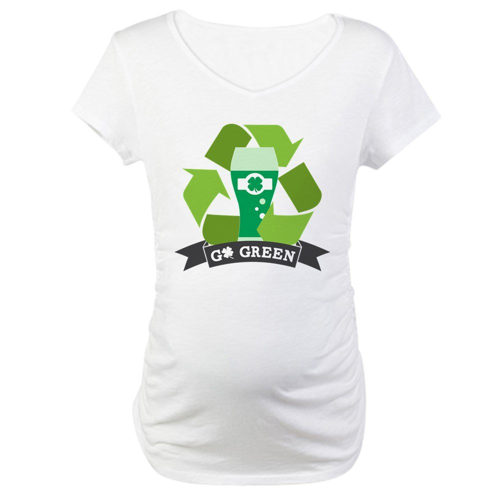 CafePress Go Green Cotton Maternity T-Shirt, Cute & Funny Pregnancy Tee