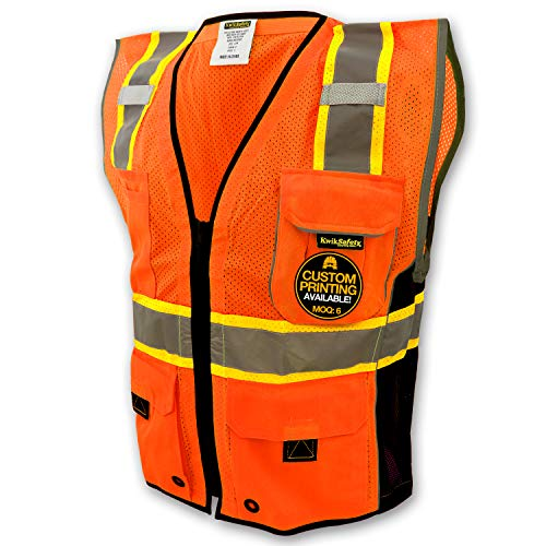 KwikSafety (Charlotte, NC) CLASSIC (10 Pockets) Class 2 ANSI High Visibility Reflective Safety Vest Heavy Duty Mesh with Zipper and HiVis for OSHA Construction Work HiViz Men Orange Black XL