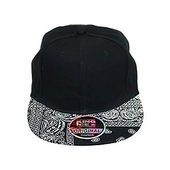dbedb74c95b Adult   Kids Paisley Bandana Pattern Snapback Cotton Baseball Cap (Black)   Amazon.co.uk  Clothing