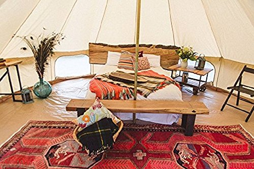 DANCHEL Stand Canvas Bell Tents 20ft 6M /teepee with Carry Bag khaki Sheet and Hole for Stove, 20 ft,