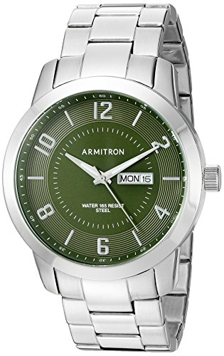 Armitron Men's 20/5142GNSV Day/Date Function Silver-Tone ...