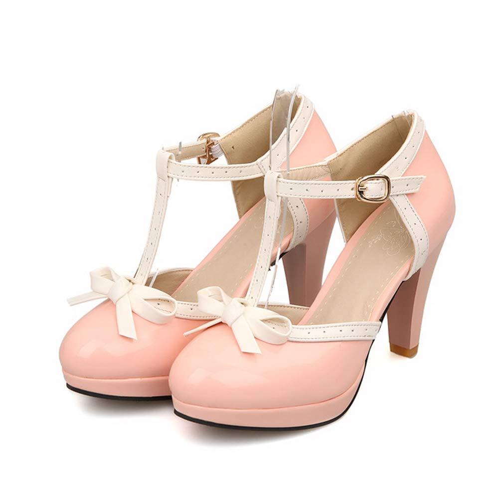 Desirepath Womens Round Toe Color Block High Heel Mary Jane Style Sweet Dress Pumps