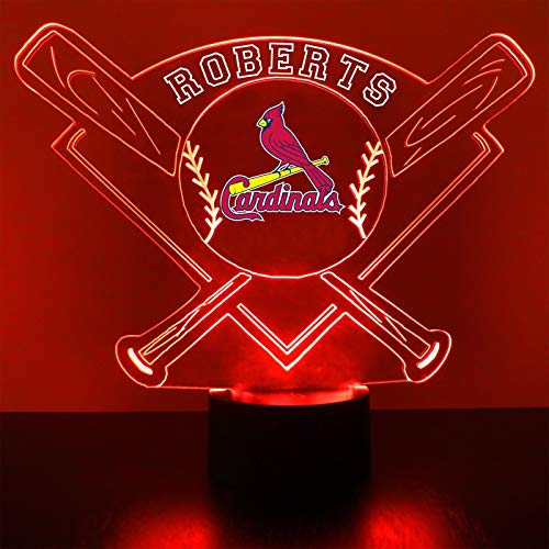 Mirror Magic Store Cardinals Baseball LED Night Light with Free Personalization - Night Lamp - Table Lamp - Featuring Licensed ()