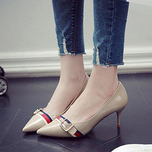 GAOLIM Los Zapatos De Tacón Alto Las Mujeres Con 5Cm De Punta Fina Con Solo Zapatos Zapatos De Mujer Primavera Verano Beige