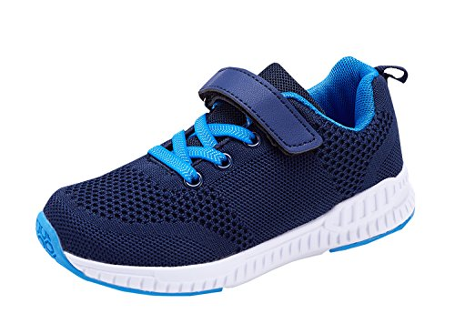 KALEIDO Kids Walking Shoes Lightweight Breathable Running Shoes Fashion Sneakers Casual Sports Shoes For Boys and Girls N-Blue 26