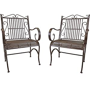 Pair of Titan Metal Outdoor Antique Arm Chairs Porch Patio Garden Deck Decor Rust Rustic