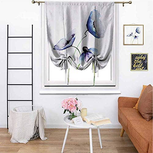 Kmydt Watercolor Flower Decor Collection Tie-Up Window Curtain Poppies Wildflowers Blooms in Watercolor Painting Thermal Insulated Noise for Home 48 x 72 Navy Blue White Green