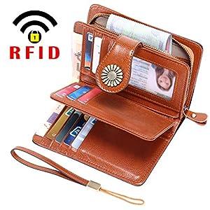 TEUEN Portafoglio Donna Medio RFID Portafogli in Pelle Vera Donna con Portafoto, Capiente Portamonete Donna con Cerniera 13 Carte Portafoglio Donna Pelle con Tanti Scomparti (Marrone)