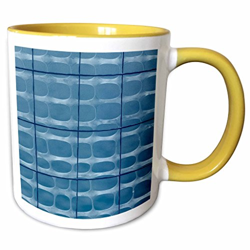 (3dRose Alexis Photography - Abstracts - Image of protective mesh, metal wire in blue. Industrial abstract - 11oz Two-Tone Yellow Mug (mug_285865_8))