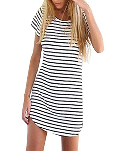 OURS Women Black & White Striped Short Sleeve Blouse T Shirts Mini Dress (XXL, White (Higher Quality))