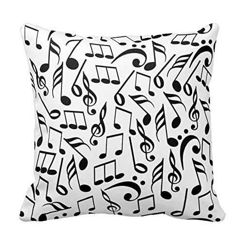 Joy City blanco y negro notas musicales decorativo funda de ...