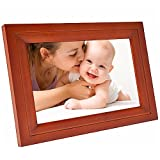 Hdgenius 10 Inch WIFI Digital Photo Frame with HD Touch Display , iPhone & Android App and Real Wood Frame – Red Wood(IPF10R)