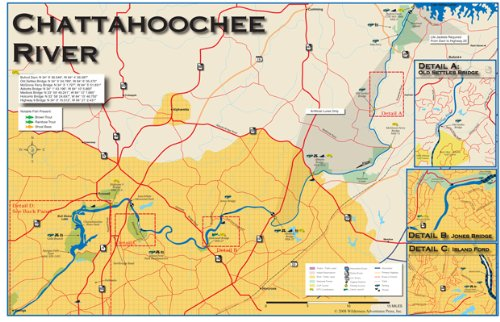 Amazon.: Chattahoochee River 11x17 Fly Fishing Map : Outdoor