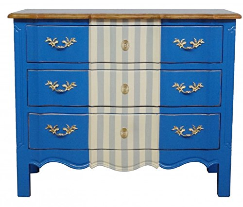 Casa Padrino Barock Kommode Blau / Weiß Grau / Holzfarben 105 cm