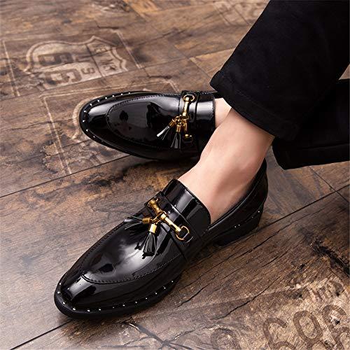 Slip Suela Cómodo De color Xiaojuan Metal Eu Negro Ligera Tamaño Formales Con 44 Zapatos shoes Para Casual Oxford Fashion Borla Azul Hombre 2018 vx0Iqw70T