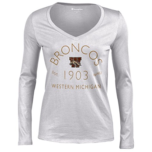 Gear Western Shirt - Champion NCAA Western Michigan Broncos Women's University Long Sleeve V-Neck Gray T-Shirtuniversity Tee, Oxford Heather, Large