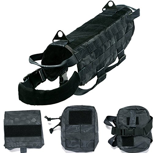 Huntvp Tactical Dog Molle Vest Harness Training Dog Vest with Detachable Pouches