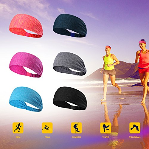 6 Pieces Sport Headband Yoga/Cycling/Running /Fitness Exercise Hairband Elastic Sweatband for Unisex by Leoter (Image #4)
