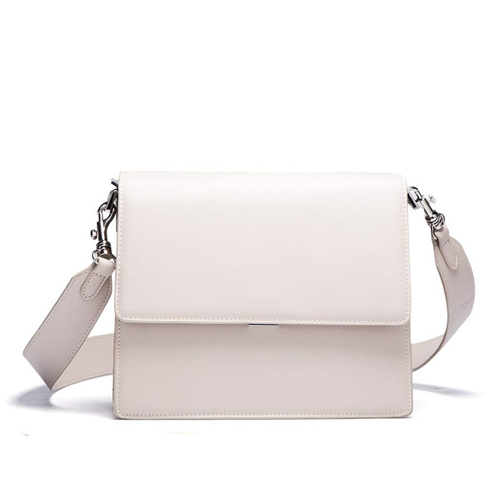 White LBYMYB European and American Leather Wide Shoulder Strap Shoulder Bag Hand Bag (color   bluee)