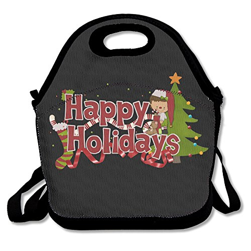 Merry Christmas Lunch Bag Lunch Tote, Waterproof Outdoor Travel Picnic Lunch Box Bag Tote With Zipper And Adjustable Crossbody ()