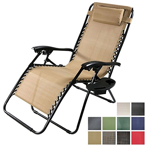 Sunnydaze Khaki Outdoor Oversized Zero Gravity Lounge Chair with Pillow and Cup Holder by Sunnydaze Decor