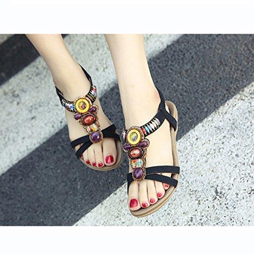 Para Boho Peep Mujer toe Imitación Tacón Bei size zapatos sandalias Xing 36 Verano Zapatillas Mujer negro Bao Plano De Firm Playa Diamantes zapatos YUSxqp