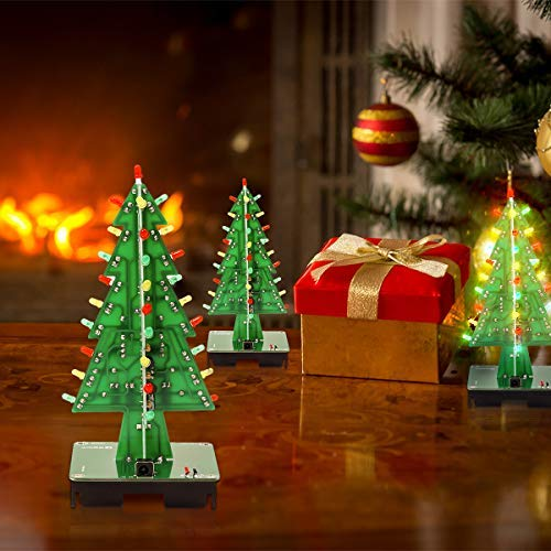 IS Icstation DIY 3D Xmas Tree Electronic Soldering Assemble Kit 3 Color Flashing LED Science School STEM Projects Creative Gift