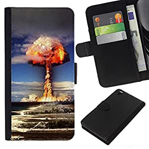 Planetar® Modelo colorido cuero carpeta tirón caso cubierta piel Holster Funda protección Para HTC DESIRE 816 ( Explosion Powerful Atomic Bomb )