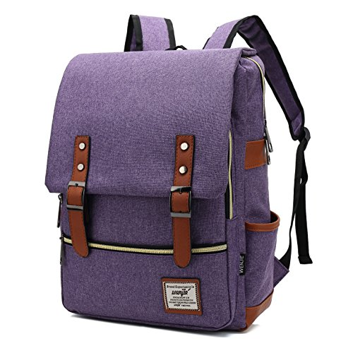 Mn&Sue British Style Casual Unisex Waterproof Oxford School Backpack Rucksack (Purple) by Mn&Sue