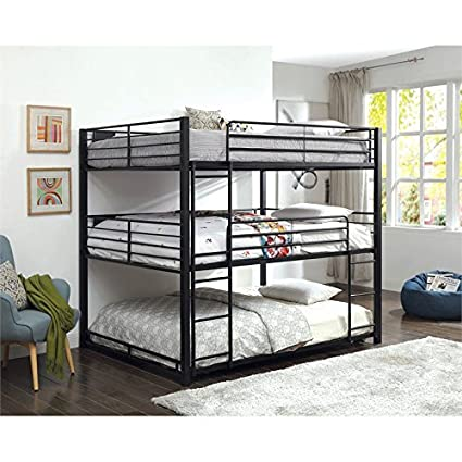 Amazon Com Furniture Of America Botany Modern Queen Triple Bunk Bed
