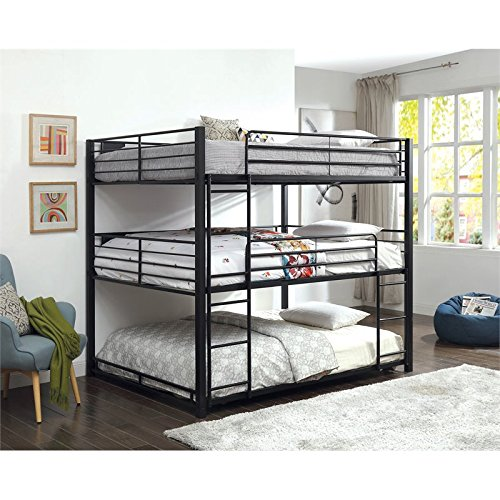 Furniture of America Botany Modern Queen Triple Bunk Bed in