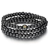 Flongo 8mm Multi-Strands Black Buddhist Prayer Mala Wooden Beads Wrap Necklace Bracelet