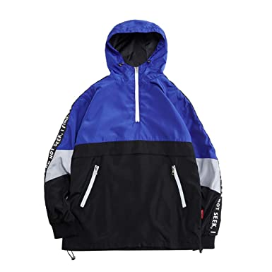 be2ad8af6 Hzcx Fashion Mens Pullover Hooded Waterproof Lightweight Windbreaker  Jackets(Blue,XS)